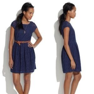 Madewell 1937 navy lace bloom dress size zero